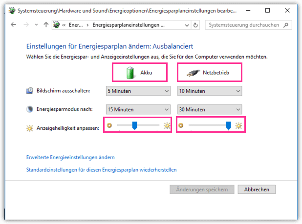 Windows 10 Energiesparplan