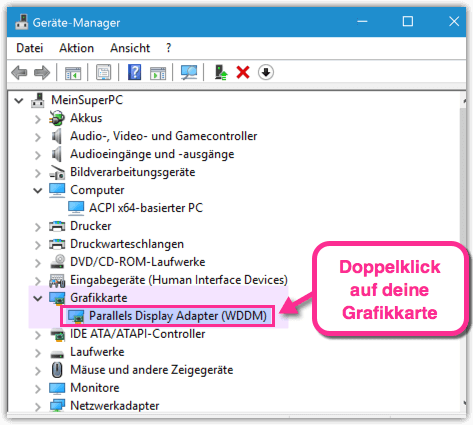 Windows 10 Grafikkarte im Geraetemanager