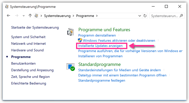 Windows 10 Installierte Updates anzeigen