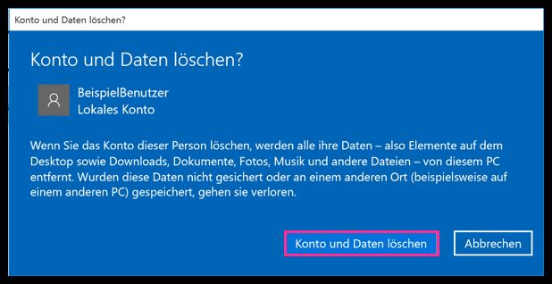 Windows 10 Konto und Daten eines Benutzers löschen