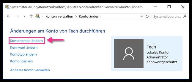 Benutzernamen ändern Windows 10