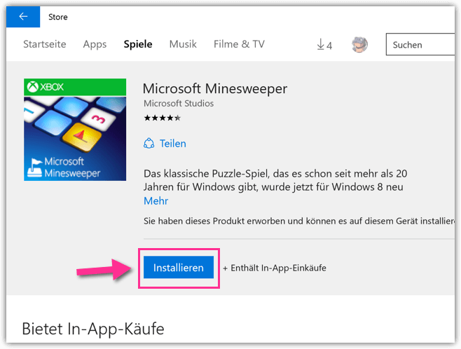 Windows 10 Minesweeper installieren