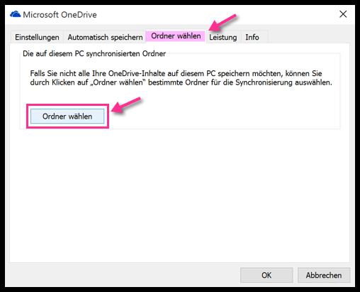 Windows 10 OneDrive Ordner wählen
