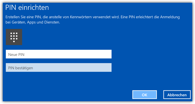 Windows 10 PIN Einrichten 2