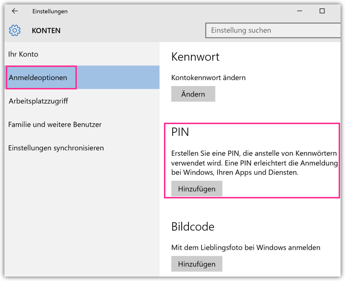 Windows 10 PIN Einrichten