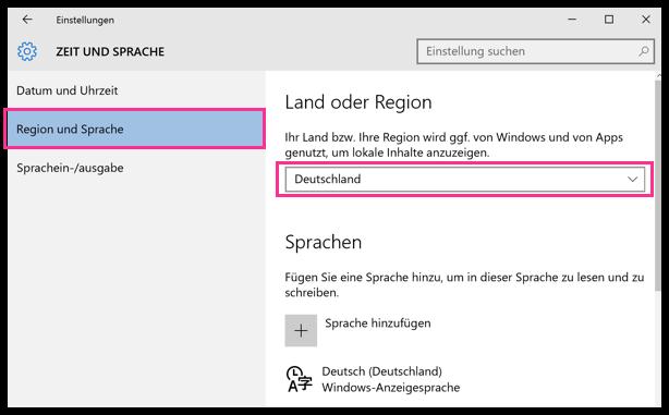 Windows 10 Region Deutschland