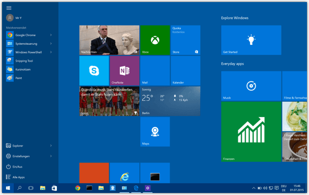 Windows 10 Start Menue gross