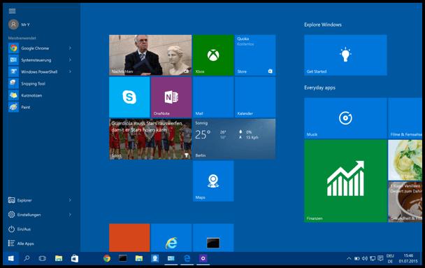 Windows 10 Start Menue gross