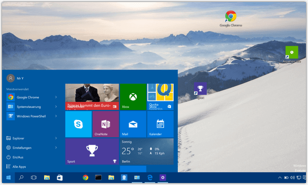 Windows 10 Start Menue klein