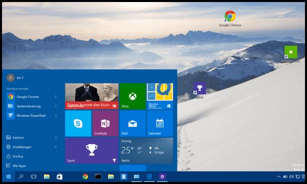 Windows 10 Start Menue klein