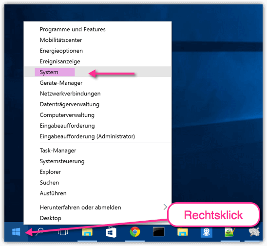 Windows 10 System Informationen öffnen