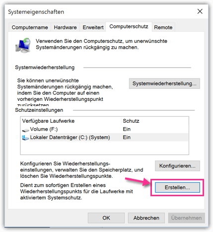 Windows 10 Systemeigenschaften