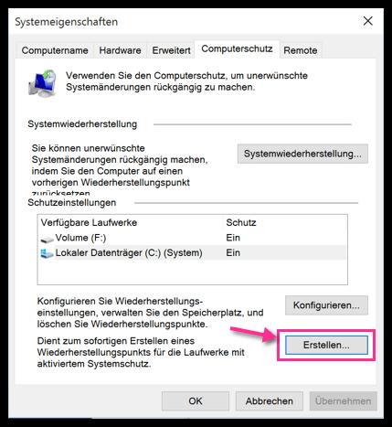 Windows 10 Systemeigenschaften