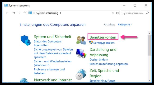 Windows 10 Systemsteuerung Benutzerkonten