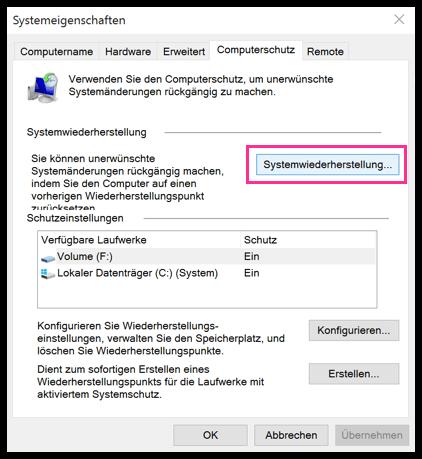 Windows 10 Systemwiederherstellung mit Wiederherstellungspunkt