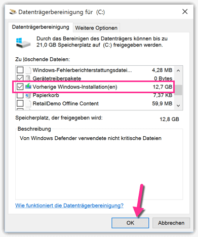 Windows 10 Vorherige Windowsinstallationen löschen