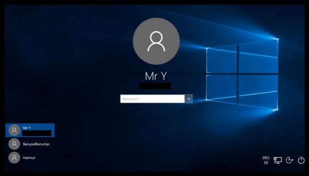 Windows 10 Wechsel zwischen den Benutzerkonten auf dem Sperrbildschirm