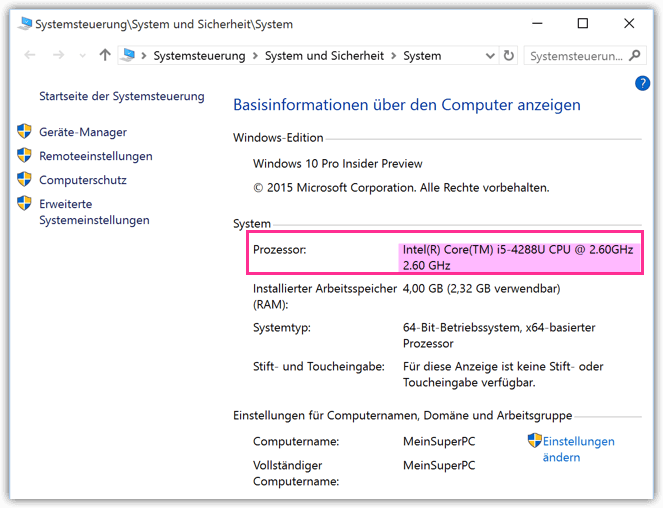 Windows 10 Welcher Prozessor