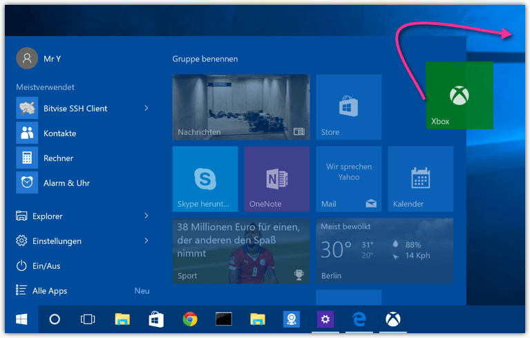 Windows 10 Xbox Shortcut herausziehen
