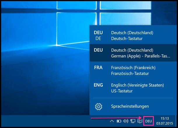 Windows 10 Zwischen Sprachen Switchen