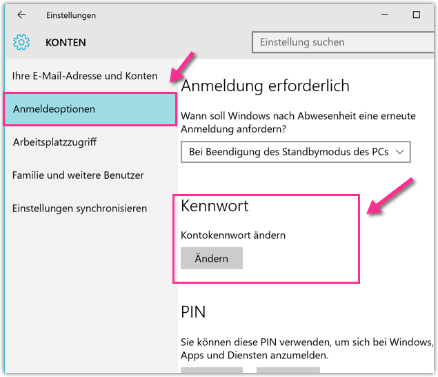 Windows 10 das eigene lokale Kennwort aendern