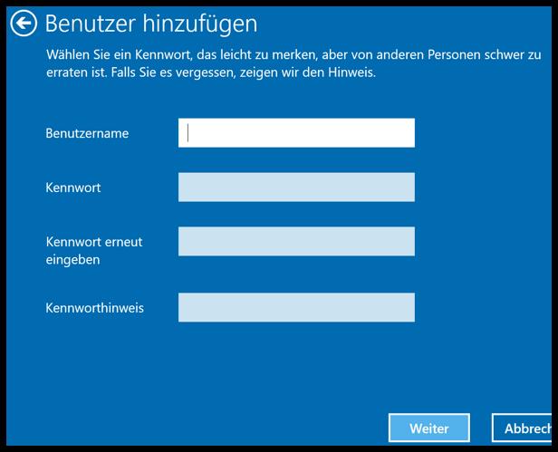 Windows 10 lokalen Benutzer hinzufuegen