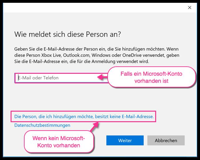 Windows 10 neuen Benutzer registrieren