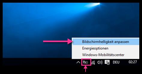 Windows10 Bildschirmhelligkeit anpassen