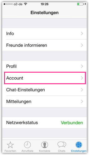 iPhone WhatsApp Einstellungen Account
