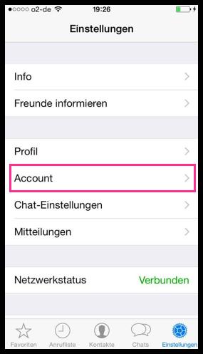 iPhone WhatsApp Einstellungen Account