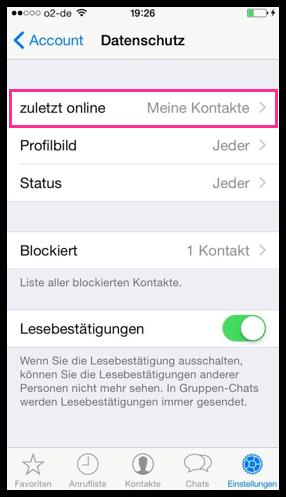 iPhone WhatsApp Zuletz online Deaktivieren
