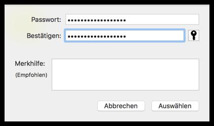 Externe Festplatte Passwort