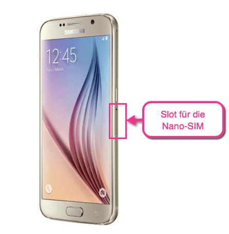 Galaxy S6 Slot für die Nano-SIM-Karte