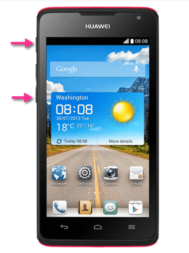 Huawei Ascend Y530 Screenshot Buttons