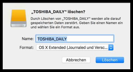 Mac OS X Festplatte loeschen