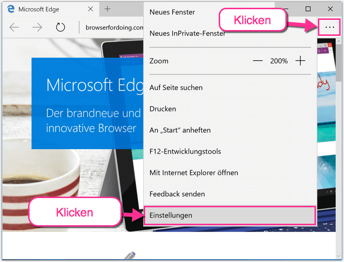Microsoft Edge Browser Einstellungen oeffnen