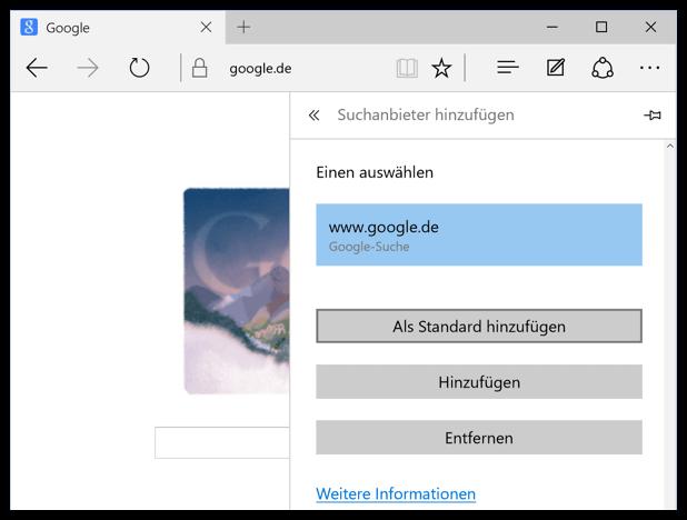 Microsoft Edge Google als Standard hinzufügen