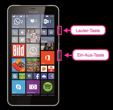 Microsoft Lumia Screenshot Tasten
