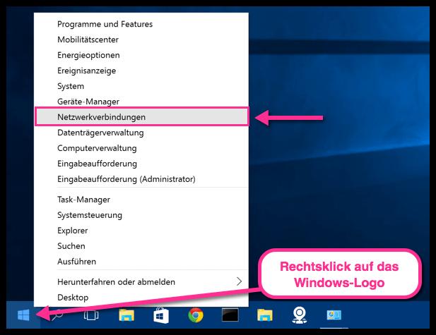 Netzwerkverbindungen anzeigen in Windows 10
