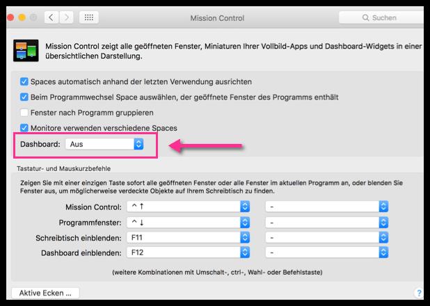 OS X Dashboard Deaktivieren