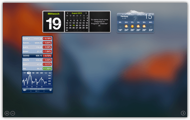 OS X Dashboard mit Widgets