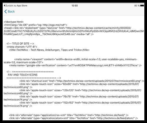 Quelltext von Techmixx.de