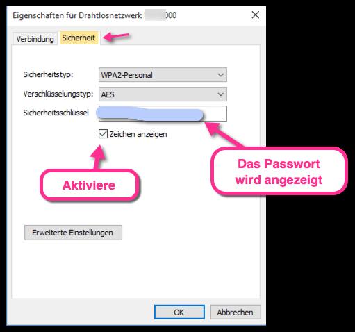WLAN Passwort unter Windows 10