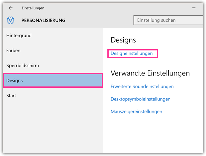Windows 10 Design-Einstellungen