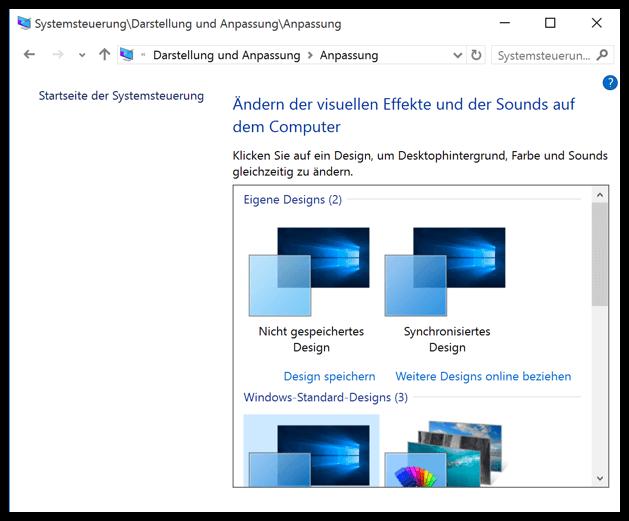 Windows 10 Designs ändern