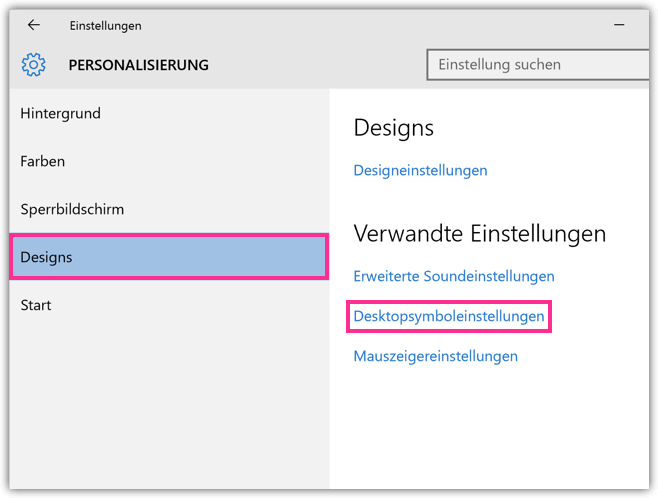 Windows 10 Desktopsymbol-Einstellungen