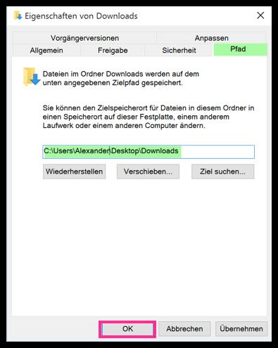 Windows 10 Download Ordner verschieben