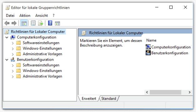 Windows 10 Editor für lokale Gruppenrichtlinien