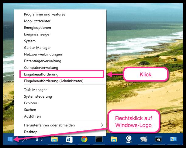 Windows 10 Eingabeaufforderung öffnen