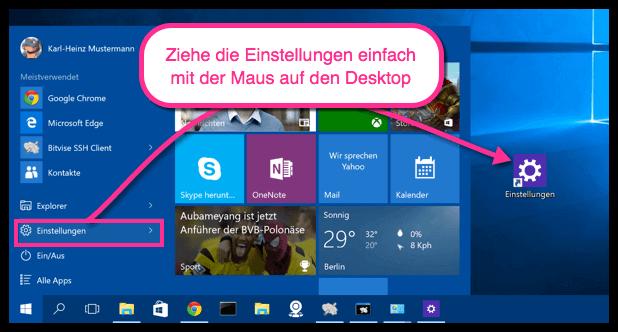Windows 10 Einstellungen Verknüpfung